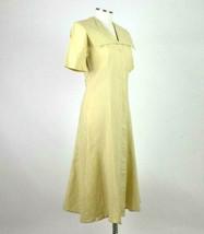Vintage 80s Beige Cream Maxi Dress Cracker Jack Collar Short Sleeve Retro Size M image 2