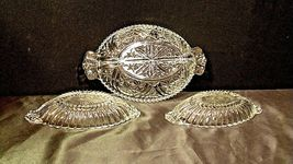 Heavy Etched Cut Glass Relish Tray and Two small Serving Trays AA20-CD0058 Vinta image 7
