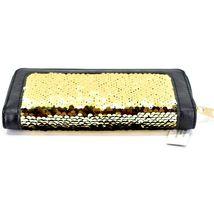 Bijorca Faux Leather Black & Gold Sequin Zip Around Clutch Wallet image 5