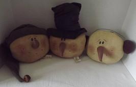 Honey & Me Primitive Snowmen Head Set Teastained Top Hat Ear Muffs Stock... - $36.74