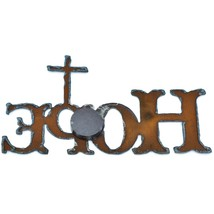 "Country Western Rusted Patina Iron Metal Cutout Religious Cross ""HOPE"" Magnet image 2"