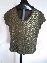 Liz Claiborne Ladies Ss Rayon Stretch Knit TOP-PM-WORN ONCE-SEQUINNED FRONT-CUTE - $5.99