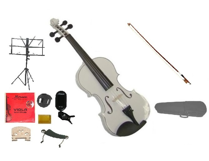 """Merano Acoustic 15"""" WHITE Student Viola,Case,Bow & Much More"""