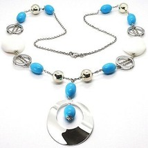 SILVER 925 NECKLACE, AGATE WHITE UNDULATED, TURQUOISE, OVAL PENDANT, 70 CM - $242.73