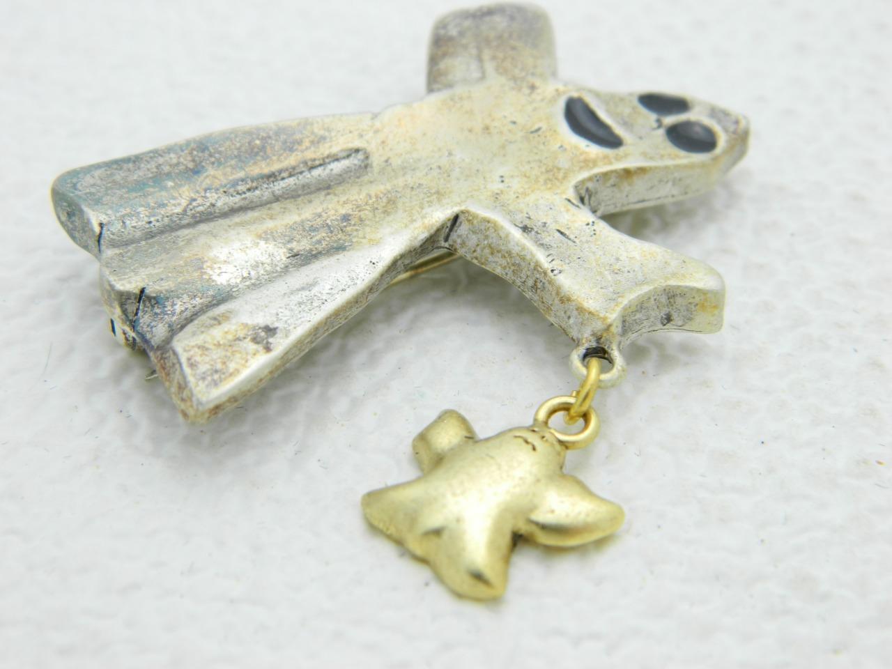 Vintage Halloween Silver Ghost Baby Ghost Enamel Darlene Group Pin Brooch