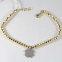 Bracelet Yellow Gold White 750 18k with BALLS and Four-Leaf Clover, 19 Cm - $431.19