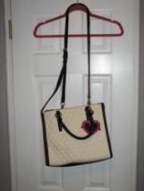 Authentic Betsey Johnson Quilted Black White Pink Purse Heart Mirror Gold Trim - $36.95