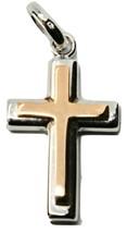Anhänger Überqueren in Rosagold und Weiß 18K 750 Zweifarbig Kruzifix Mad... - $275.47