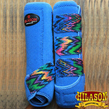 Medium Hilason Zigzag Blue Horse Front Leg Ultimate Sports Boots Pair U-03-M - $49.95