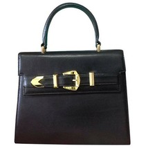 Vintage Gianni Versace black leather Kelly style bag with golden buckle ... - $582.00