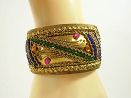 Ornate Embossed Wide Clamper Bracelet Rhinestones Seed Beads Cuff Vintag... - $22.76