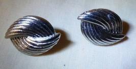 Vintage 1960s Silvertone Elongated Knot Pierced Earrings - $8.00