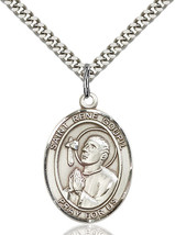 Sterling Silver St. Rene Goupil Pendant 1 x 3/4 inch with 24 inch Chain - $59.54