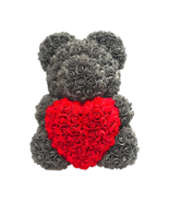Gray Rose Bear w/ Heart for Mother's Day, Valentine's Day, Wedding Gifts... - $168.29