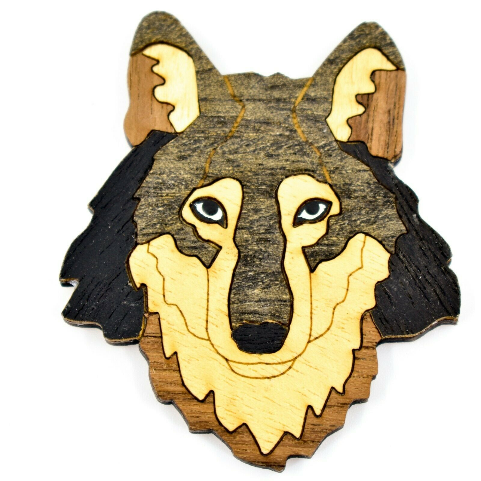 Northwoods Wood Marquetry Wolf Bust Refrigerator Magnet