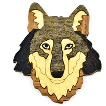 Northwoods Wood Marquetry Wolf Bust Refrigerator Magnet image 1