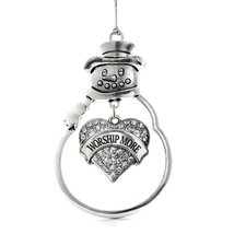 Inspired Silver Worship More Pave Heart Snowman Holiday Ornament - $14.69