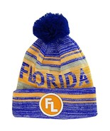 Florida FL Patch Fade Out Cuffed Knit Winter Pom Beanie Hat (Royal/Orange) - $11.95