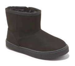 Cat & Jack Toddler Boys' Black Faux Leather Fur Arias Winter Zipper Ankle Boots