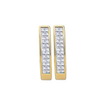 14kt Yellow Gold Princess Diamond Double Row Invisible-set Hoop Earrings... - $524.03