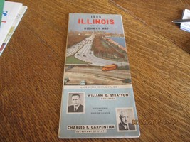Vintage 1955 ILLINOIS HIGHWAY Map - Governor Stratton on Front - FREE SH... - $6.93