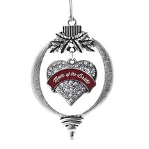 Inspired Silver Burgundy Sis of the Groom Pave Heart Snowman Holiday Decoration  - $14.69