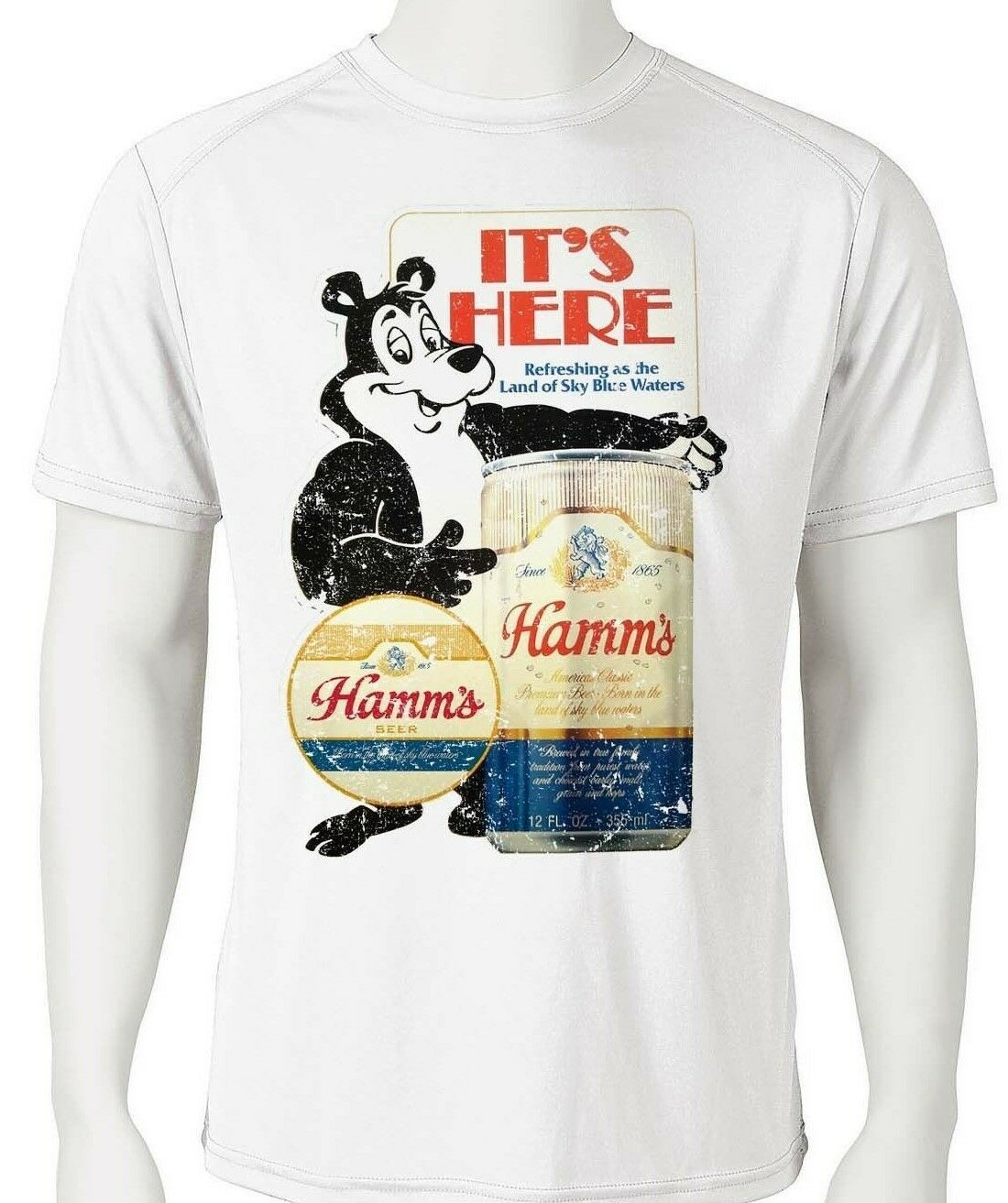 Hamm's Beer Dri Fit graphic Tshirt moisture wicking retro SPF active wear tee