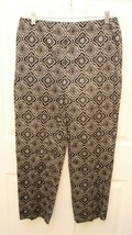 Talbots Size 8 Capri Pants Stretch Navy Medallion Scroll Skinny - $19.77