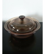 Vision Glass Corning Ware Bowl With Lid Amber V 30 B 24 Ounce Dish Round... - $16.78