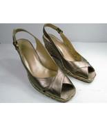 Stuart Weitzman Womens Bronze Peep Toe Slingback Espadrilles Size US 8 M... - $29.79