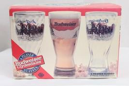 6 VINTAGE BUDWEISER PILSNER GLASSES WITH CLYDESDALES DESIGN AND ORIGINAL... - $27.69