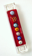 Murano Glass Handmade Mezuzah Case w 6.5 cm Scroll Red Murrina Judaica w Scroll image 1