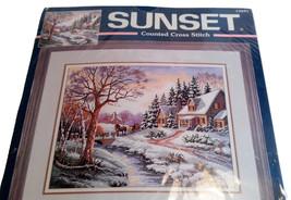 Sunset Cross Stitch Winter Outing Snow Brook Trees Needlecraft Kit 13691  NEW - $34.99