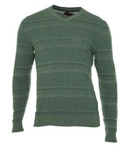 Alfani RED Sweater Men Gray Knit Cotton Blend Tonal Stripe Texture Slim Solid - $24.99