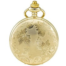 SEWOR Bronze Flowers Vintage Quartz Pocket Watch Shell Dial with Two Typ... - $19.22