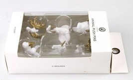 Animal Push Pins Set 6 by U Brands White Gold Elephant Buck Moose Rhino Unicorn image 2
