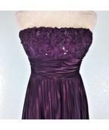 Speechless Womens Juniors Sz 9 Dress Strapless Pleated Sequin Floral Plum  - $65.44