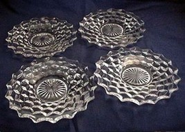 "4 Vintage Clear FOSTORIA AMERICAN 8"" Salad Plates Excellent - $33.66"