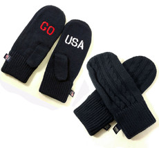 Go Team USA Olympic Blue Cable Knit Red White Embroidered Mittens One Si... - $319,28 MXN