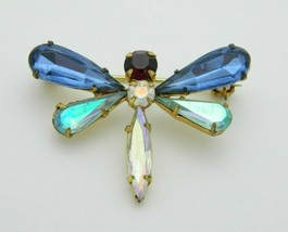 Austria Signed Multi-Color Rhinestone Dragonfly Insect Pin Brooch Vintage - $24.74