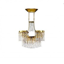 "AM4401: 2-Tier 24k Gold Baguette Pure LED Crystal Chandelier (14""-36"" H) $886+ - $866.00"