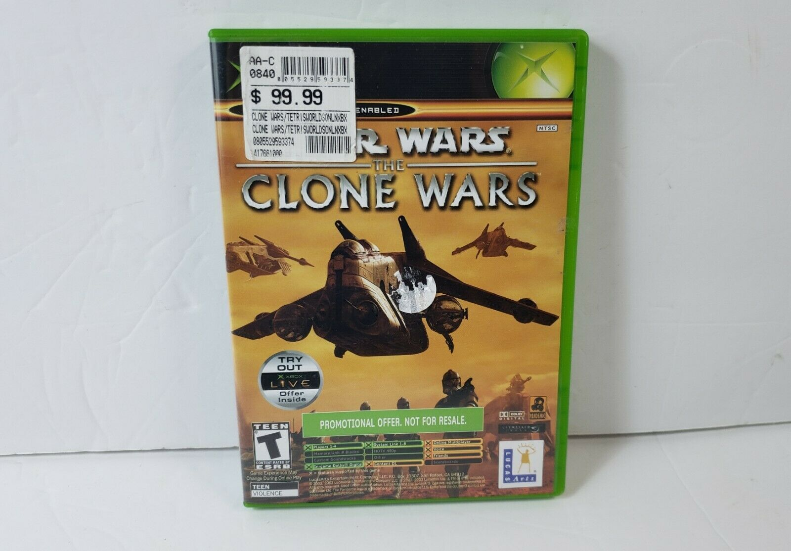 Star Wars: The Clone Wars / Tetris Worlds (Microsoft Xbox, 2003) Not for Resale