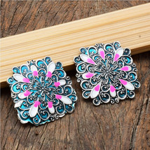 Oxidized Silver Plated Floral Enamel Sky Blue Pink Square Stud Earring For Women - $15.00