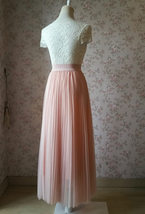 Blush Pink Pleated Tulle Skirt Tulle Pleated Maxi Skirt Elastic High Waist Band image 6