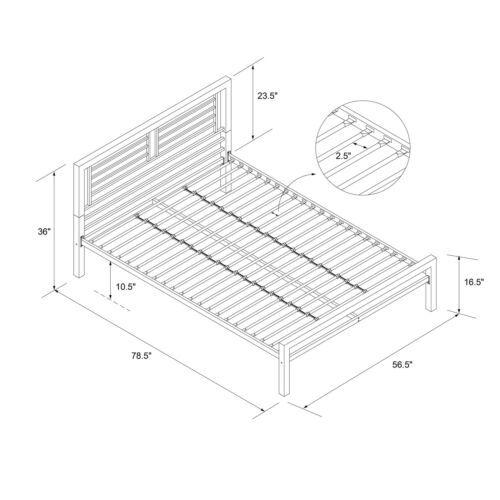 Solid Navy Blue Twin Full Metal Platform Bed Frame Headboard Foundation Slats