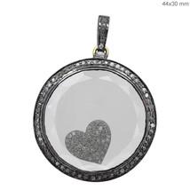 14K Gold Handmade Heart Charm Shaker Fine Pendant Gemstone .925 Sterling... - $386.25