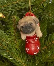 Cold Cast Ceramic Christmas Ornament - New - Pug - $12.99