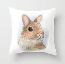 Throw Pillow Cushion case Made in USA Rabbit 62 bunny art painting L.Dumas - $29.99+