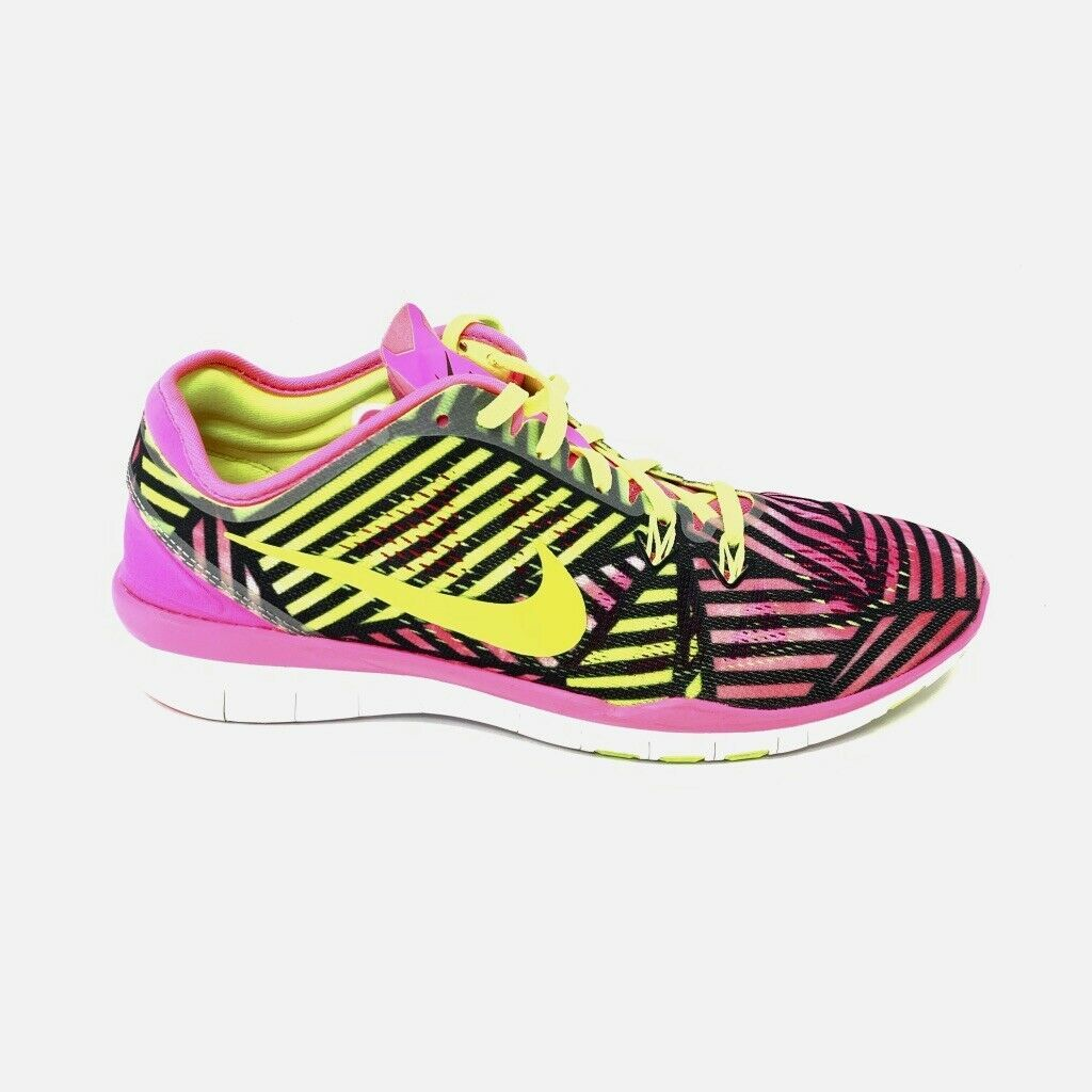Nike Womens Free Tr Fit 5 Sneakers, Size 9, Pink, Yellow, Black