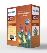 Philips 50ct LED Christmas Solar Dusk to Dawn Mini String Lights Multicolored image 2